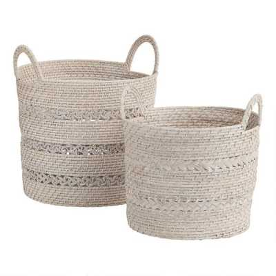 White Rattan Hapao Karissa Tote Basket, Small - World Market/Cost Plus