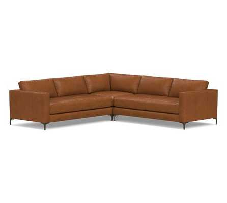Jake Leather 3-Piece L-Shaped Corner Sectional with Bronze Legs, Down Blend Wrapped Cushions, Leather Statesville Caramel - Pottery Barn