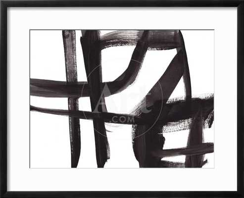 """BLACK AND WHITE ABSTRACT PAINTING 2 - 18 x 24"""" - Chelsea black frame - bright white matte - art.com"""