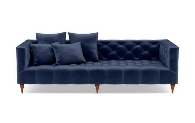 "Ms. Chesterfield Sofa // Bergen Blue Mod Velvet and Oiled Walnut with Brass Cap Stiletto Leg // 86"" - Interior Define"