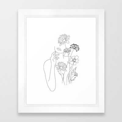 Minimal Line Art Woman with Flowers III Framed Art Print - Society6