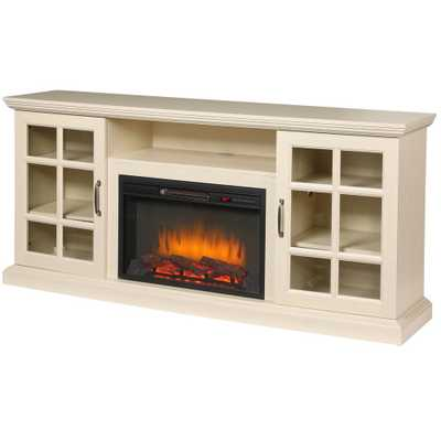 Edenfield 70 in. Freestanding Infrared Electric Fireplace TV Stand in Aged White - Home Depot