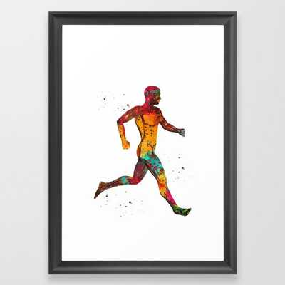 Next 1 Running muscle man Framed Art Print - Society6