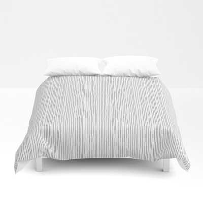 "Queen Duvet Cover - Platinum Lines Never Fail - Light Gray Duvet Cover - Queen: 88"" X 88"" - Society6"