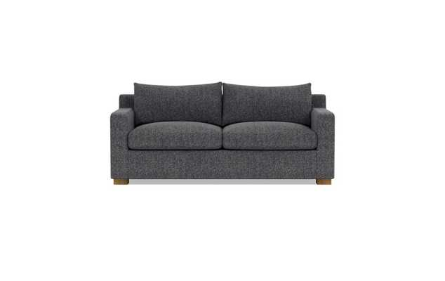 Custom Sloan Sleeper Sofa in Performance Textured Weave Pepper with Natural Oak Block Legs - Interior Define