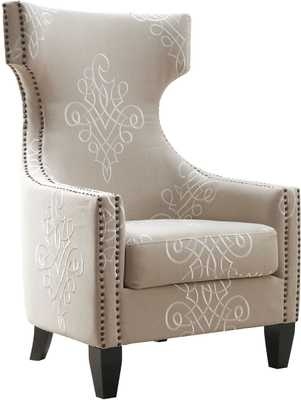 Gracie Embroidered Linen Wing Chair - Maren Home