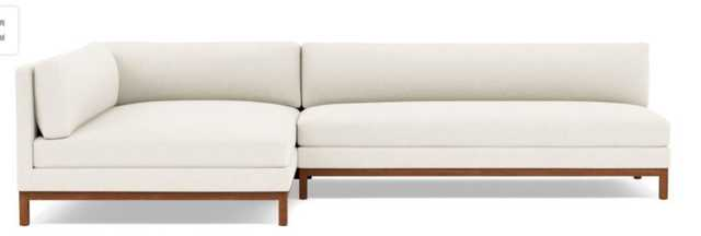 Jasper Left Sectional with White Cirrus Fabric, extended chaise, and Oiled Walnut legs - Interior Define