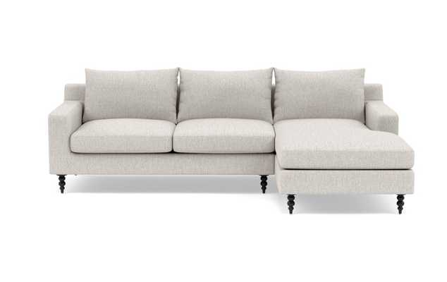 SLOAN Sectional Sofa with Right Chaise in Wheat with Matte Black Tapered Turned Legs - Interior Define