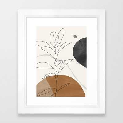 Abstract Art /Minimal Plant Framed Art Print - x small white - Society6