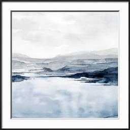 "Faded Horizon II By Grace Popp-  30"" x 30"" - Frame Ronda Ii Black- Framed Premium Giclee Print- Crisp - Bright White 2.5"" Mat- Glass Acrylic: Clear - art.com"