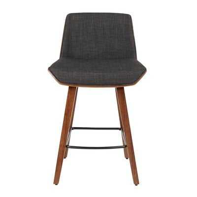 Gully Mid-Century Modern Counter Stool in Walnut Wood and Charcoal Fabric - Wayfair