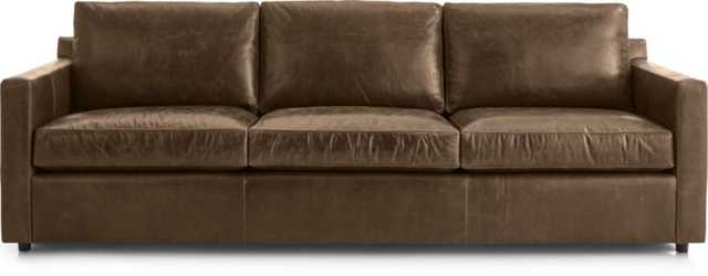 "Barrett Leather 103"" Grande Track Arm Sofa - Libby, Saddle - Crate and Barrel"