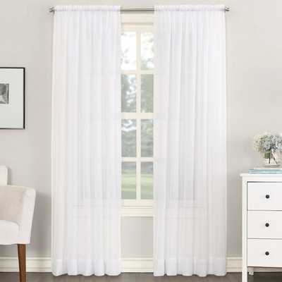 """Emily Solid Color Sheer Rod Pocket Window Single Curtain Panel, White, 108""""L - Wayfair"""