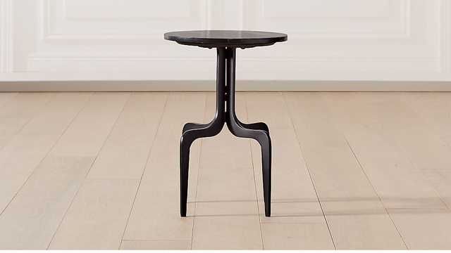 DORSET ROUND BLACK MARBLE SIDE TABLE - CB2