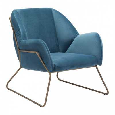 Stanza Arm Chair Blue Velvet - Zuri Studios