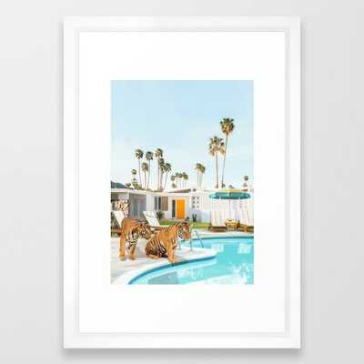 """Tigers at the Pool Framed Art Print - 15"""" x 21"""", vector white - Society6"""