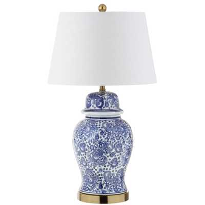 JONATHAN  Y Ellis 29.5 in. H Ceramic Table Lamp, Blue/White - Home Depot