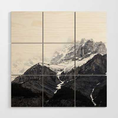 Moody snow capped Mountain Peaks - Nature Photography Wood Wall Art- 4' x 4' - Society6
