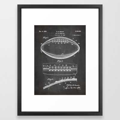 Football Patent - American Football Art - Black Chalkboard Framed Art Print - Society6