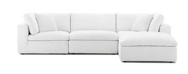 COMMIX DOWN FILLED OVERSTUFFED 4 PIECE SECTIONAL SOFA SET IN WHITE - Modway Furniture