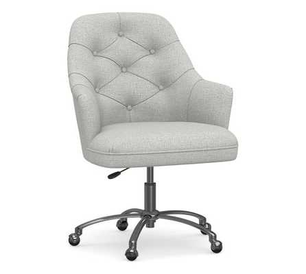 Everett Upholstered Desk Chair, Polished Nickel Swivel Base, Basketweave Slub Ash - Pottery Barn