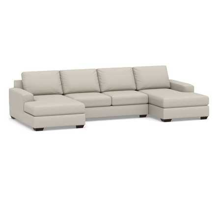 Big Sur Square Arm Upholstered U-Chaise Sofa Sectional with Bench Cushion, Down Blend Wrapped Cushions, Performance Heathered Tweed Pebble - Pottery Barn