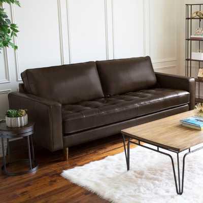 Abbyson Holloway Mid-century Top Grain Leather Sofa - Brown - Overstock