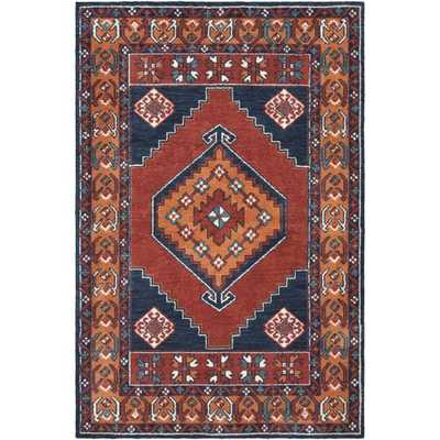 Robbins Dark Blue/ Burnt Orange Area Rug - Wayfair