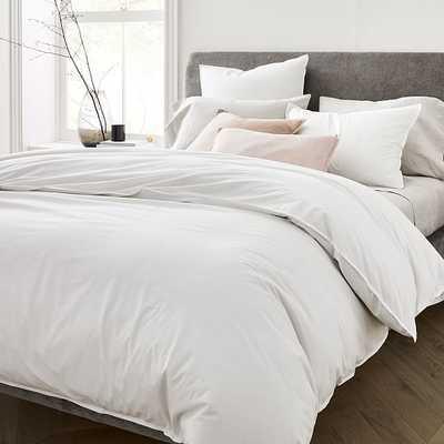 Organic Washed Cotton Duvet & Sham Set; King Sham, Stone White, King - West Elm