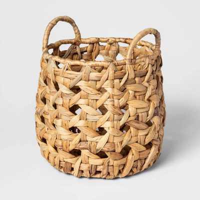 "12.2""x12"" Decorative Open Weave Basket Natural - Threshold - Target"