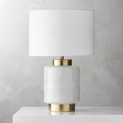 pebble milk glass table lamp - CB2