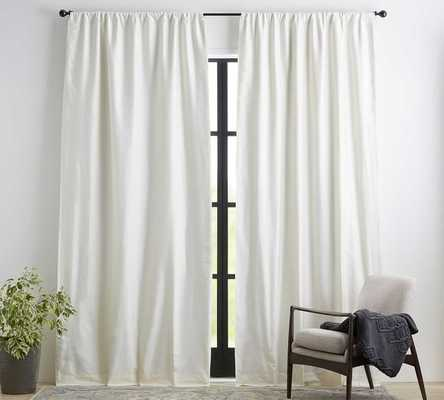 "Dupioni Silk Pole Pocket Drape with Blackout, 50 x 84"", Ivory - Pottery Barn"