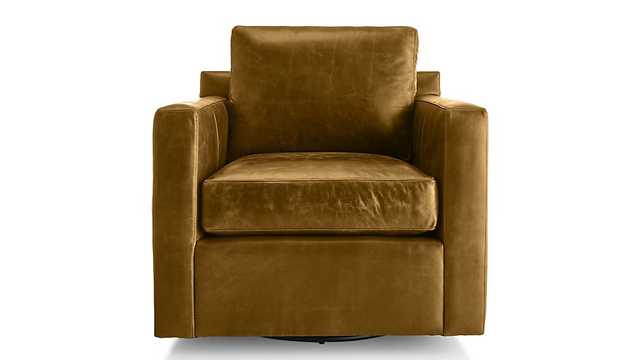 Barrett Leather Track Arm Swivel Chair - Crate and Barrel