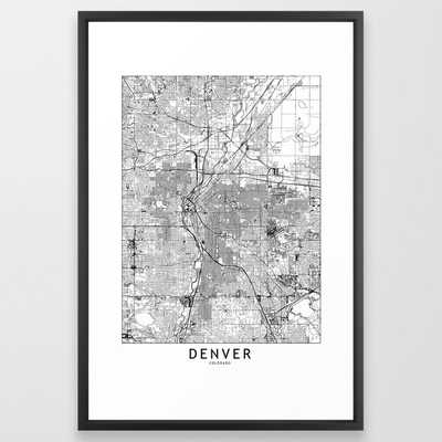 Denver White Map Framed Art Print - Society6