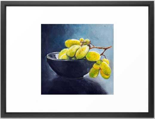 Painting of yellow grapes in a fruit bowl. Illustration Framed Art Print - Society6