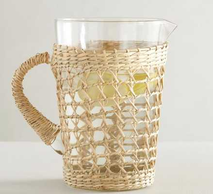Cane Recycled Glass Pitcher - Pottery Barn