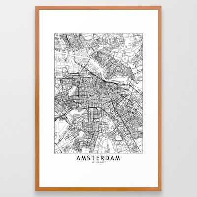 Amsterdam White Map Framed Art Print - Society6