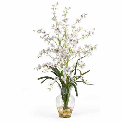 Dancing Lady Silk Orchids Floral Arrangement in Vase - Wayfair