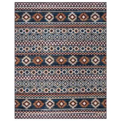 Rosalynn Navy/Multi-Color 8 ft. x 10 ft. Global Low Pile Area Rug - Home Depot