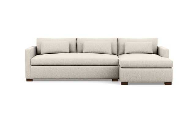Charly Sleeper Sectional sofa with right chaise CROSSWEAVE WHEAT Fabric and Oiled Walnut legs - Interior Define