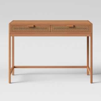 Minsmere Wood Writing Desk with Caned Drawers Brown - Opalhouse™ - Target