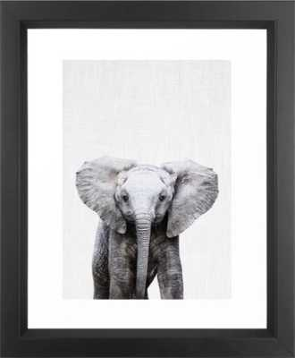 "Baby Elephant Framed Art Print - vector black - 10"" x 12"" - Society6"