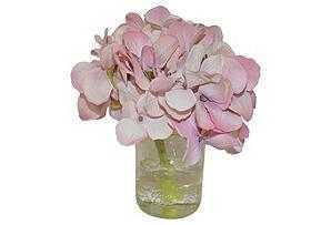Pink Hydrangea in Small Mason Jar - Tisbury Vale