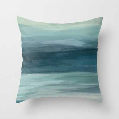 Seafoam Green Mint Navy Blue Abstract Ocean Art Painting Throw Pillow - Society6