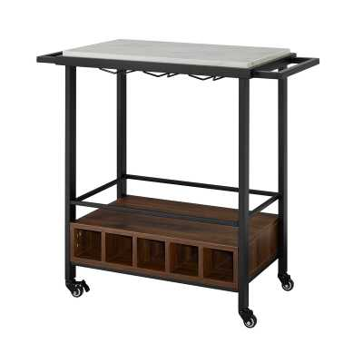 Moshe Bar Cart, black faux - Wayfair
