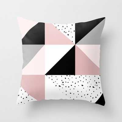 Geometrical pink black gray watercolor polka dots color block Throw Pillow - Society6