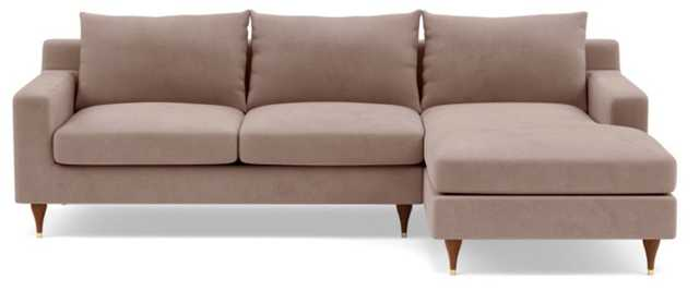 "SLOAN Sectional Sofa with Right Chaise - Platinum Performance Velvet - Walnut w/ Brass Cap - 96"" - Interior Define"