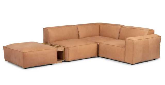 Solae Canyon Tan and Light Oak Right Arm Corner Sectional - Article