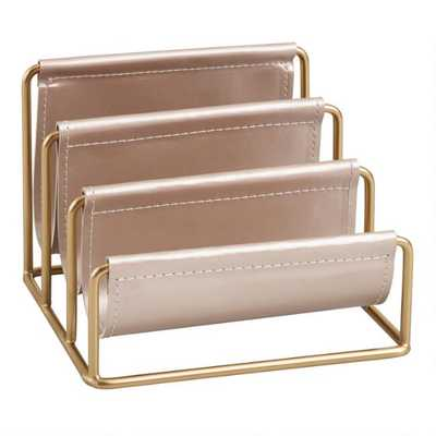 Champagne Vegan Leather Nicole Letter Holder - World Market/Cost Plus