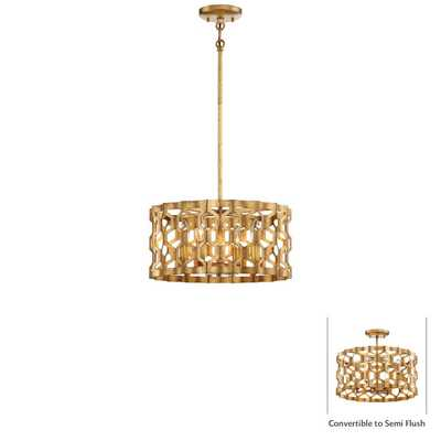GOLD LEAF HONEYCOMB CONVERTIBLE CEILING LIGHT - 4 LIGHT - Shades of Light
